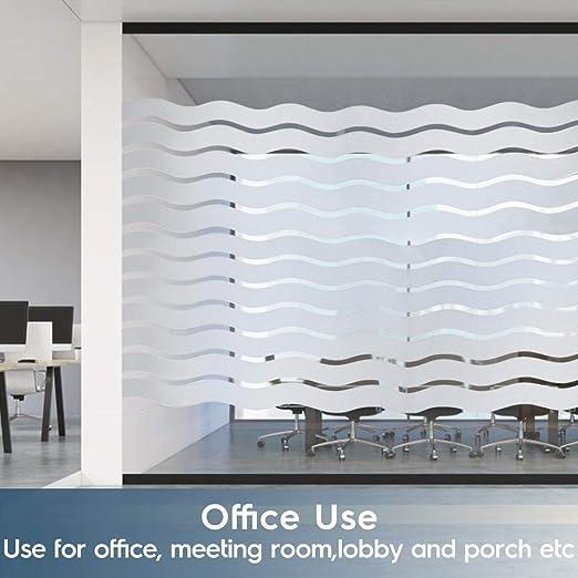 Stripe Wave Window Sticker Vinilo Decorativo estático Vinyl Window Clings Frosted Window Film Película de Vidrio de privacidad para Alquiler Apartm 100cmx200cm: Amazon.es: Hogar