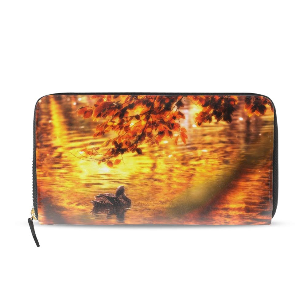 Women Girls Long Clutch Duck Wallet Printed PU Leather Travel Purse Card Holder