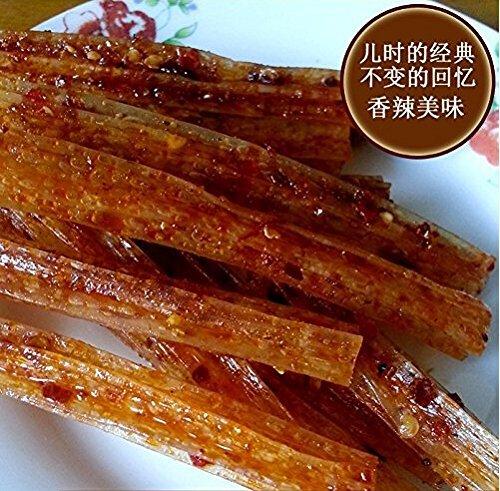 Domilove® Chinese Special Spicy Snack Food: Gluten Wei Long La Tiao Fei Wang Ba Bao Li Qing Si Pack of 10 (飞旺八宝里青丝 30g X 10 Pack)