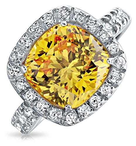 Simulated Canary CZ Cushion Cut Silver 3ct Engagement Ring