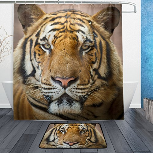 Tiger Pattern Print Waterproof Polyester Bathroom Shower Curtain Set for Home Decor with Hooks,66W X 72L Inches - Tar Man Zombie Costume