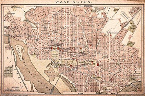 Washington DC Vintage 1898 Antique Style Map Mural Giant Pos