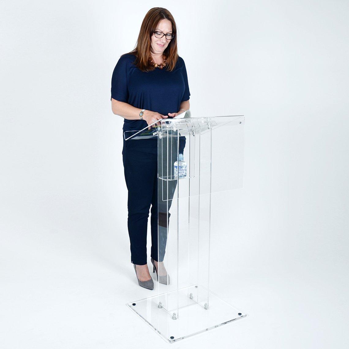 Luminati Clear Acrylic Presentation Lectern - Elegant Perspex Design Church/Schools (Shelf Without Fascia Panel)