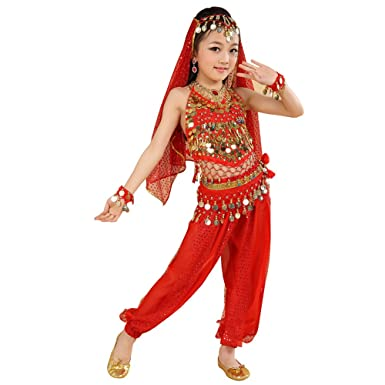cd862e84083c KINDOYO 5 Pcs Girls belly dance Indian dance costume, chiffon sequins  ethnic dancewear (Red