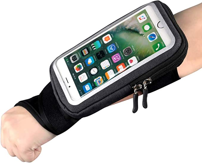 Gym Workouts L Cycling Yoga and Hiking YUNYILAN Wrist Bag Forearm Band Cell Phone Holder for All Mobile Phone Wristband Pouch Bag with Key Card Cash Holder for Running