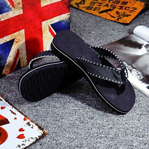 Sandales Flip-flops Inkach - Mode Sandales Dété Hommes Sandales De Plage Glissent Sur Des Chaussures Plates Occasionnels Noir