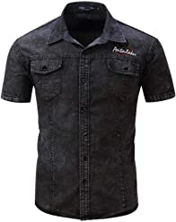 a66b3f5106 FREDD MARSHALL Men s Short Sleeve Denim Shirts Button Down Slim Fit Shirt