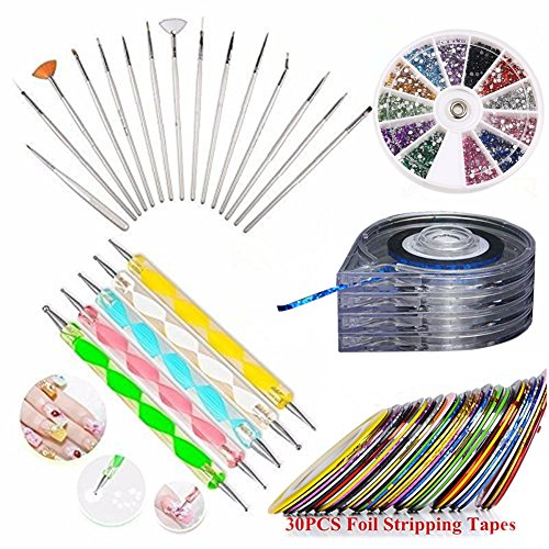 JOYJULY Nail Art Kit includes 30 Striping tape & 4Pcs Stripi