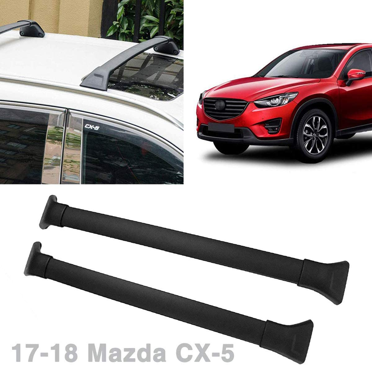 Mazda 17-18 CX-5 CX5 Black Roof Top Cross Bars Crossbars Rack Luggage Carrier