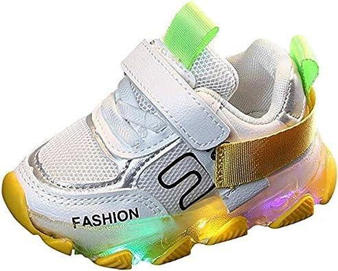 Unisex Niños LED Zapatillas de Deporte Lace-up Velcro Zapatos para Correr Comodo Transpirable Malla Zapatillas de Deporte Running Zapatos de Interior: Amazon.es: Zapatos y complementos