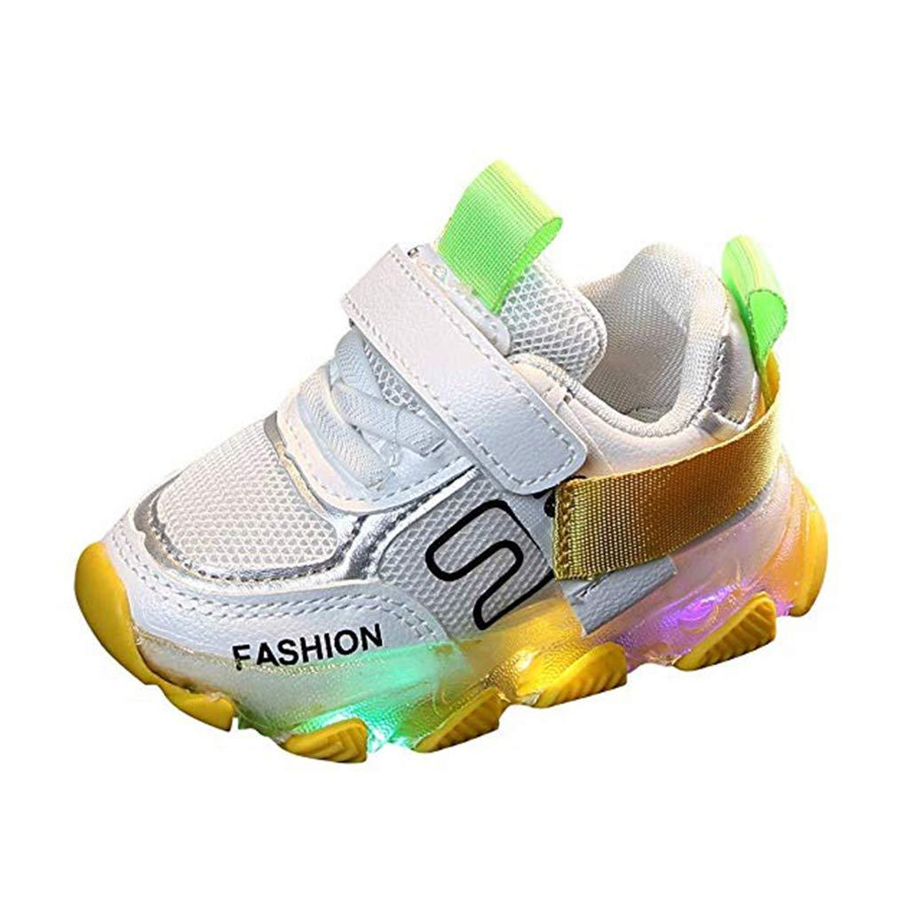 Gar/çon Fille Mode LED Baskets Lace-up Velcro Chaussures de Sport Respirant Confortable Soles Chaussures de Course Chaussures de Sport pour Enfant