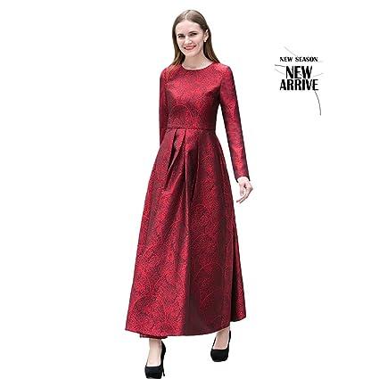 Vestido rojo largo manga larga