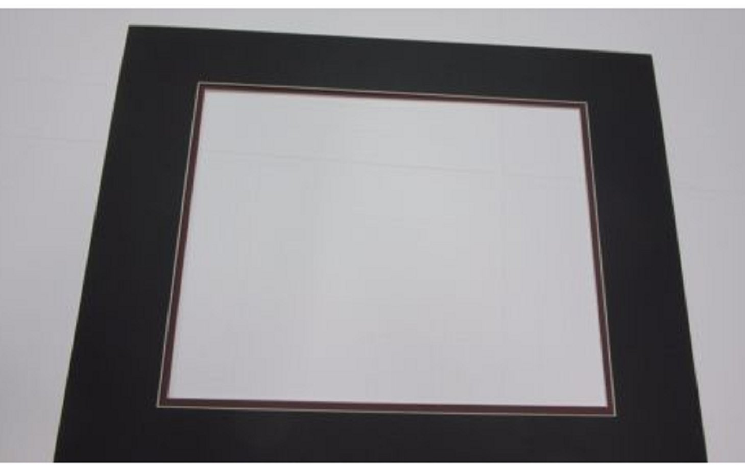 USA Premium Store Picture Framing Mats 16x20 for 11x14 photo set of 3 Black with Garnet liners