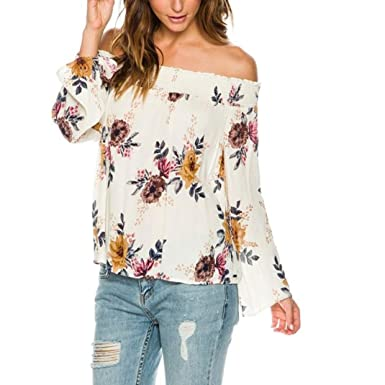 b0a7a205a3e Amazon.com  Elogoog Off Shoulder Blouse