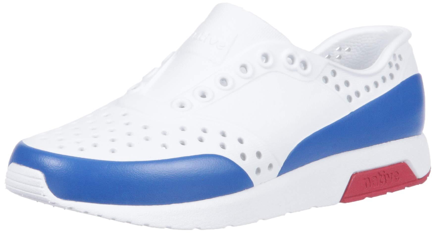 Native Shoes Unisex Lennox Junior Sneaker, Shell White/ski Patrol red/Victoria Blue Block, 2 Medium US Little Kid