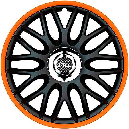 J Tec J15519 Satz Radzierblenden Orden R 15 Zoll Schwarz Orange Chrom Ringe Inch Auto