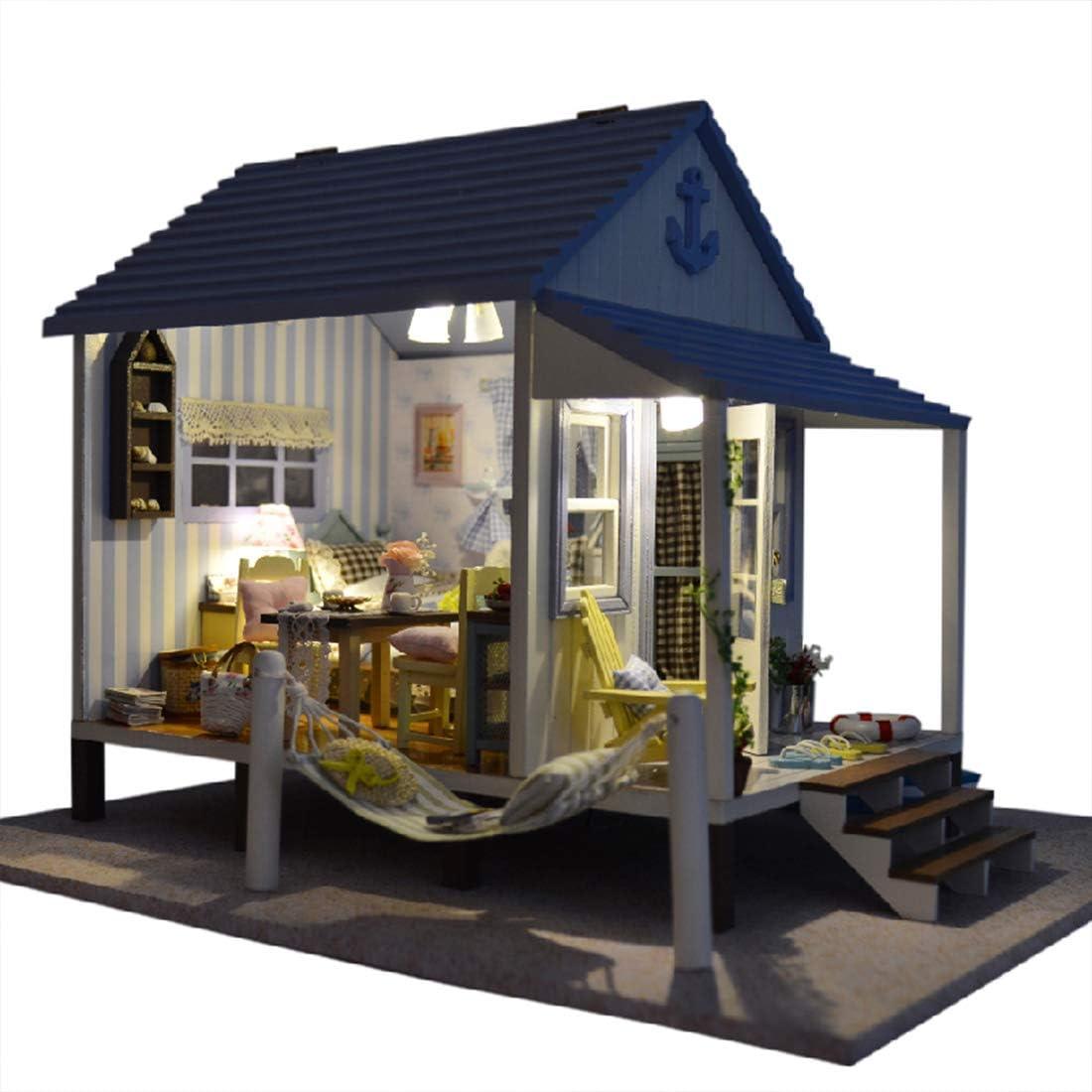 POWER DIY Doll House Blue Happy Coast Hecho A Mano Casa Cumpleaños De Los Niños: Amazon.es: Deportes y aire libre