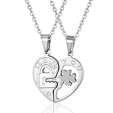 70798ffb6d ATDMEI Key to My Heart Necklace for Couples Set Boyfriend and Girlfriend I  Love You Stainless