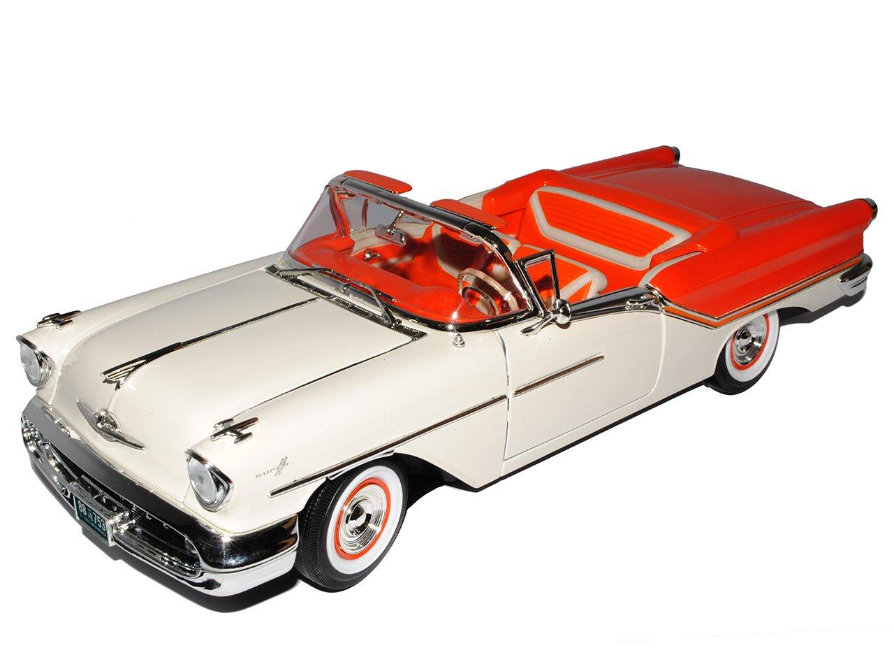 Oldsmobile Super 88 1957 Cabrio Weiss Orange Oldtimer 1//18 Yatming Modell Auto mit individiuellem Wunschkennzeichen