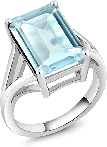 Sterling Silver Sky Blue Topaz Women's Solitaire Ring