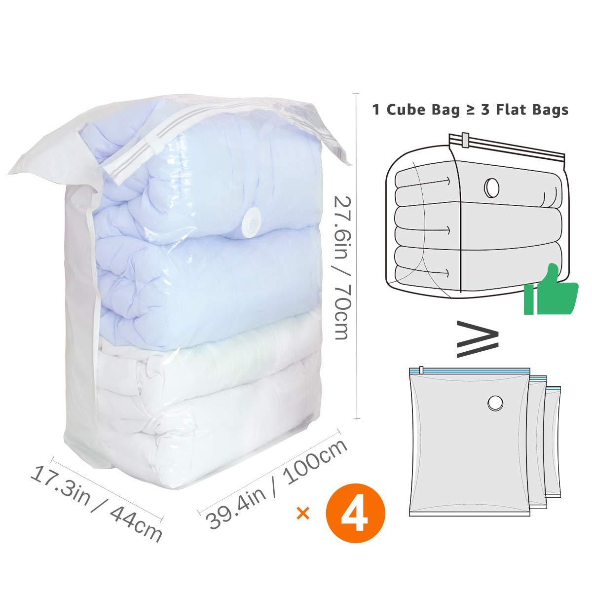 Almohadas Ropa 4 Piezas 100 x 70 x 38 cm Ropa de Cama TAILI Cubo Jumbo Bolsas de almacenaje al vac/ío No Necesita Herramientas Bolsas ahorradoras de Espacio para edredones Mantas