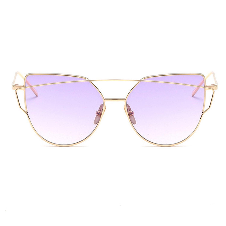 ROSE GOLD Cat Eye Flat Mirrored Reflective Aviator Women Ladies Retro Sunglasses