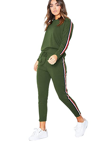 adb8b6a2022 Women's Solid Suit Set Hoodie and Pants Sport Suits Tracksuits at ...