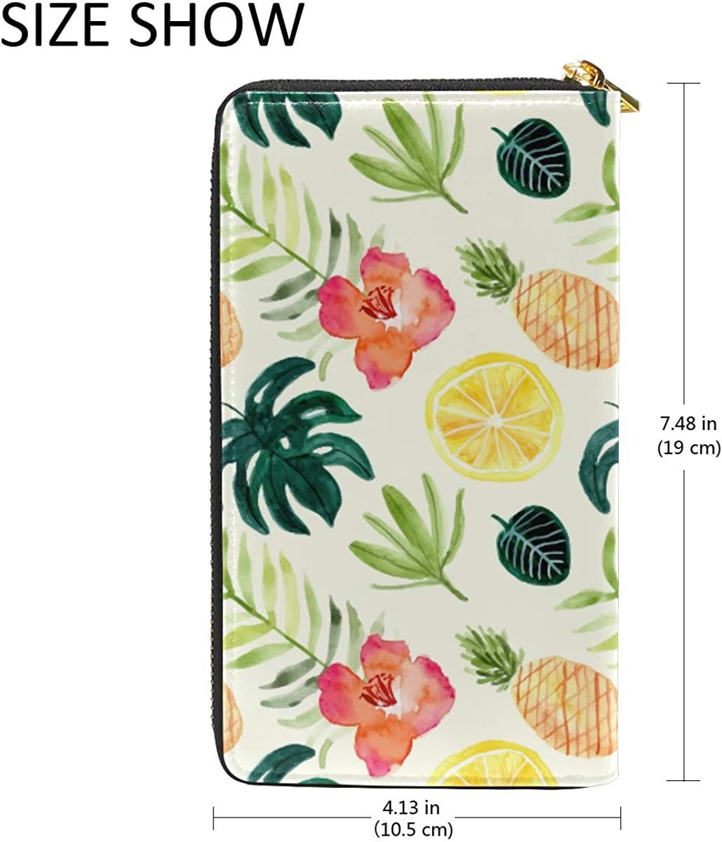 Floral Fruit Tropical Watercolor Wallet Real Leather Zipper Coin Phone Purse Clutch for Women