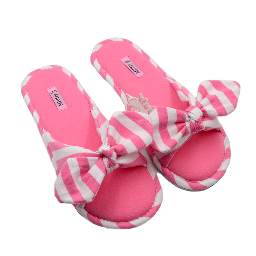 Millffy 2018 New Summer Sweet Ladies Shoes Pink Girl Home Slippers Cotton Indoor Slides Knot Stripe Slippers (Women US 5/6 Or UK 3/4 Or EU 36/37, Rose)
