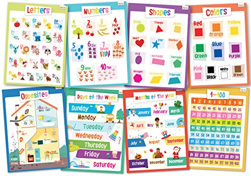 Educational Posters for Kids - Size 17x22 (Toddler Set) (Learning Poster)