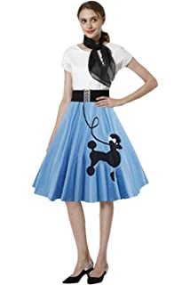 e9649f178a954 Poodle Skirt 1950s Women Vintage Cocktail Dress Poodle Dress with Scarf