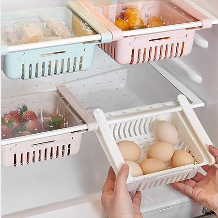 POLP Frigoríficos Organizadores de Cajones Caja de Almacenamiento del Refrigerador Mantiene el Refrigerador Ordenado Estante Soporte Contenedor de Alimentos Cestas (Four Color, 4 Piezas): Amazon.es: Hogar