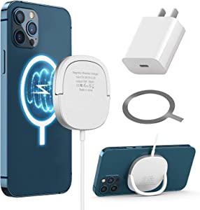 Wireless Charger, Magnetic Wireless Charger Compatible with i Phone 12/12Mini/12Pro/12Pro max AirPods 2/Pro and All Phones with QI-Enable, with Ring Stand and USB-C Quick Charger Adapter