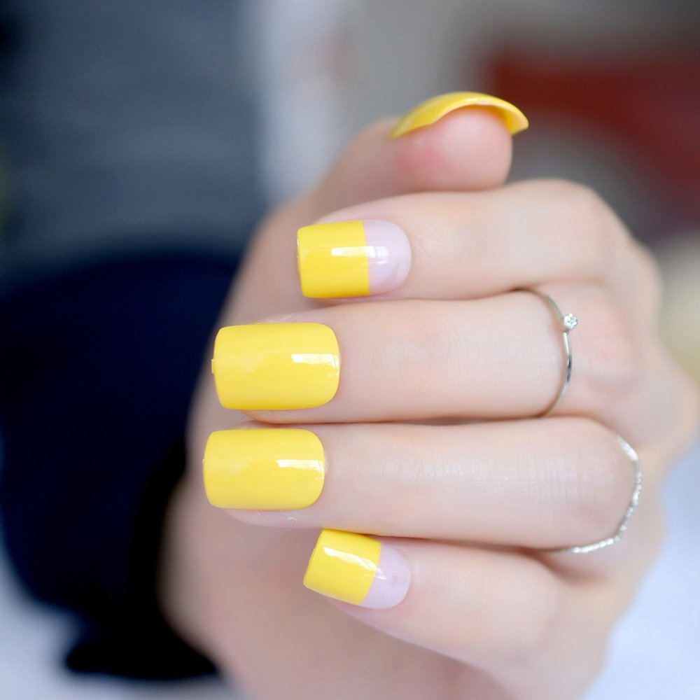 Amazon.com : CoolNail Bright Yellow French False Nails UV Gel Effect Full Cover Square Wear Fake Nail for Home Office Bride faux ongles Manicure : Beauty
