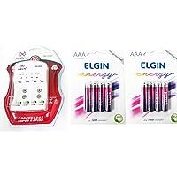 Carregador Mox com 8 pilhas recarregáveis AAA 1000 Elgin (Palito)