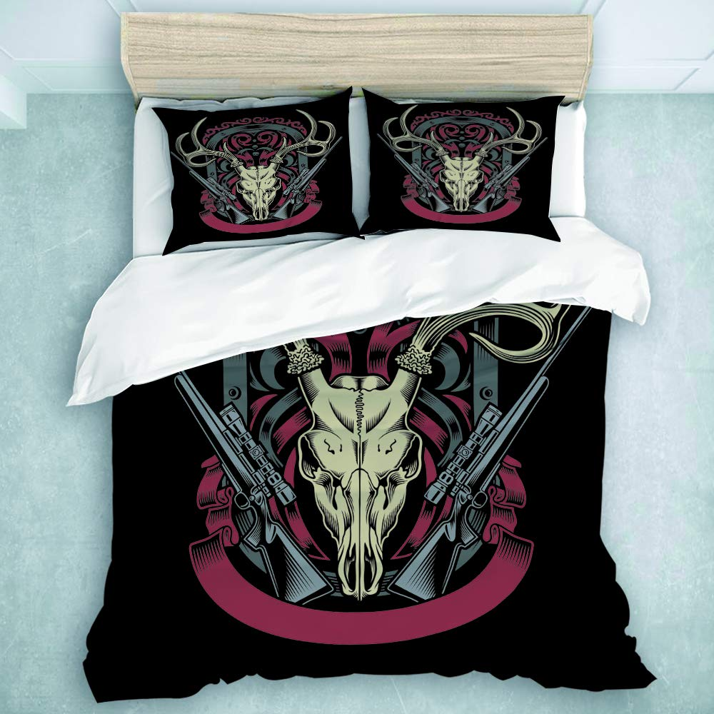 YOLIKA Duvet Cover Set Deer Skull with Rifle Decorative 3 Piece Bedding Set with 2 Pillow Shams Twin Size
