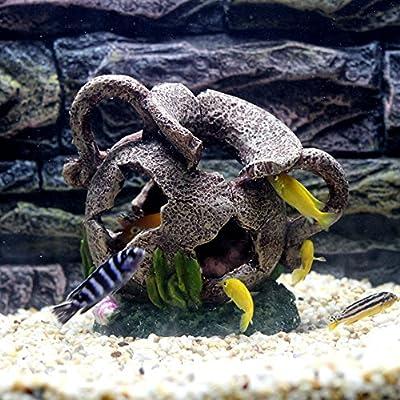 Efanr Simulation Resin Broken Egyptian Vase Barrel Aquarium Landscape Decorations Polyresin Fish Tank Decor Ornaments Decoration for Fish Shrimp Viewfinder Hippie Shelter House Underwater Hiding Cave