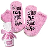 Luxury Wine Socks with Cupcake Gift Packaging: Christmas Gifts with If You Can Read This Socks Bring Me Some Wine Phrase - Funny Accessory for Her, Present for Wife, Gifts for Women Under 25 Dollars