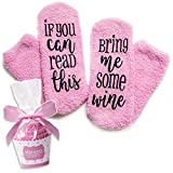 Luxury Wine Socks with Cupcake Gift Packaging: Valentines Day Gifts for Her with If You can Read This Bring me Some Wine Phrase - Funny Wine Accessory for Women - Present for Wife