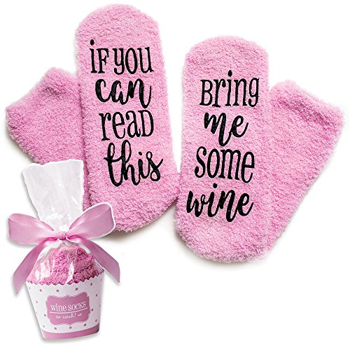 Luxury Wine Socks with Cupcake Gift Packaging: Gifts for Women with If You Can Read This Bring Me Some Wine Phrase - Funny Wine Accessory for Her - Present for Wife and Women Who Have Everything