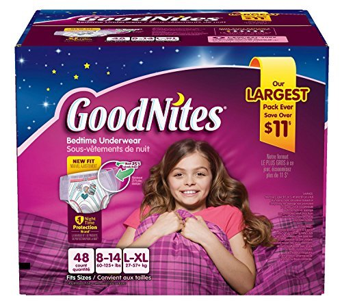 Goodnites Bedtime Pants for Girls, Large/Extra Large, 48 Count