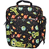 Insulated Durable Lunch Bag - Reusable Meal Tote With Handle and Pockets - Alien