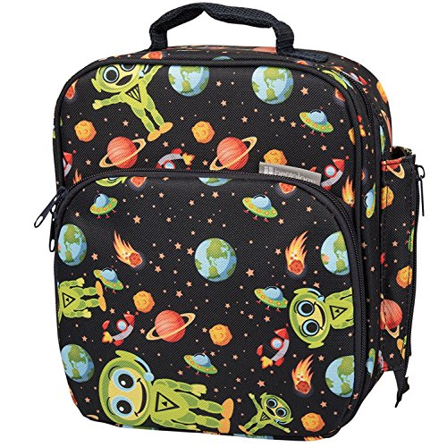 Insulated Durable Lunch Bag - Reusable Lunch Box Meal Tote with Handle and Pockets, Compatible with Bentgo, Kinsho, Yumbox (10x8x3.5) - Alien