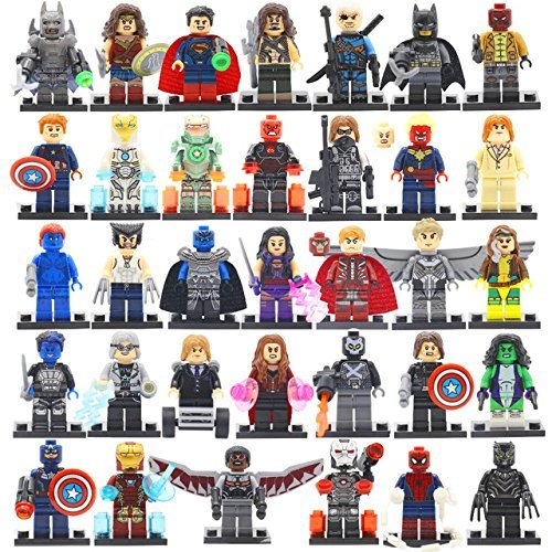 Marvel Super Heroes Minifigures 34pcs/lot Avengers Building Blocks Set Model Toys Compatible legoels
