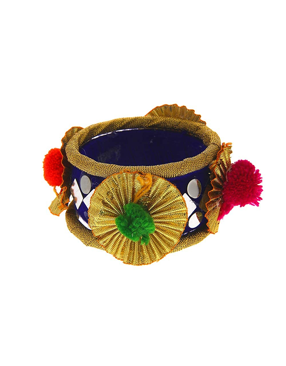 Anuradha Art Golden Finish Designer Navratri Bangles Set pom Pom Jewellery for Women//Girls