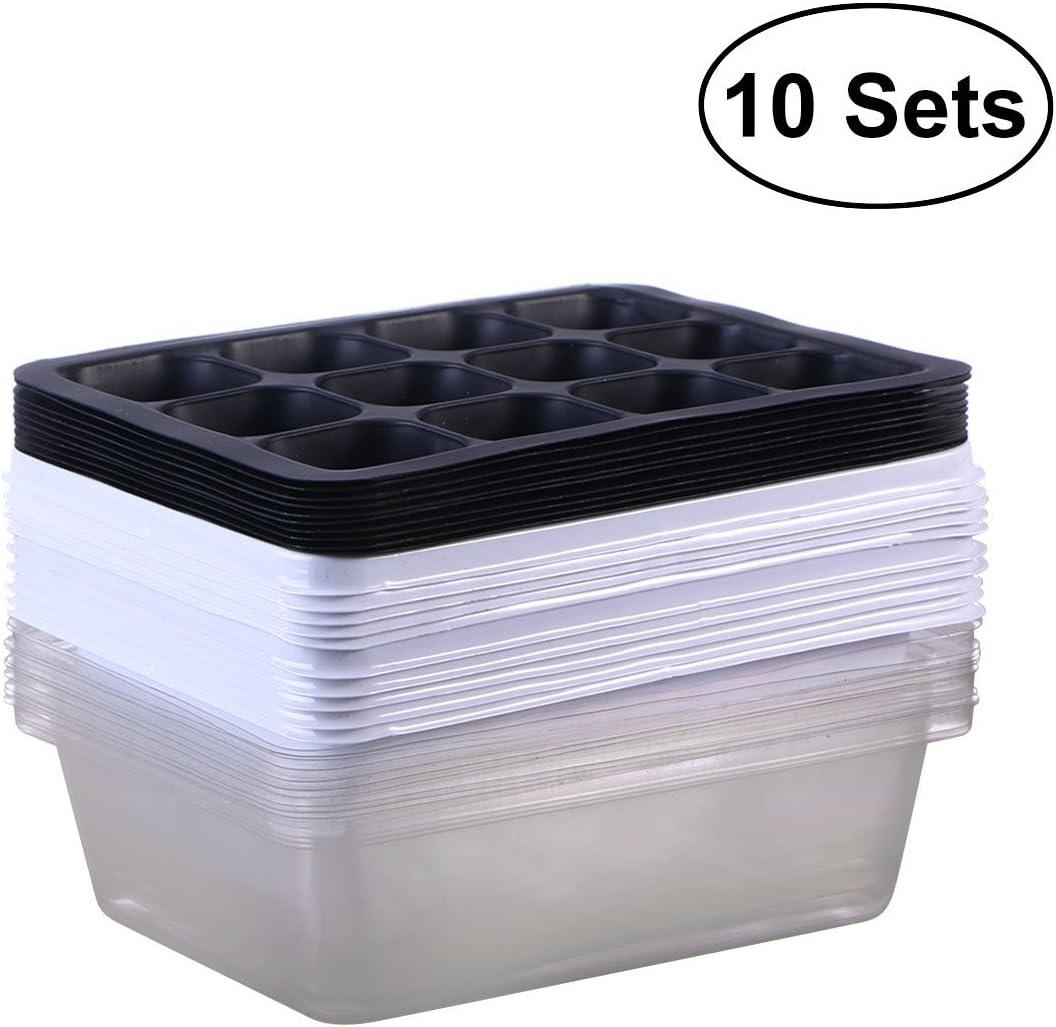 BESTOMZ Bandeja Sprouter de Semillas de 10 Paquetes Bandejas de germinación Bandejas de iniciación de plántulas Bandeja de Cultivo de Plantas Cultivador de Pasto de Trigo Saludable (12 cavidades)