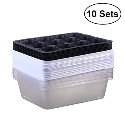 BESTOMZ Bandeja Sprouter de semillas de 10 paquetes Bandejas de germinación Bandejas de iniciación de plántulas