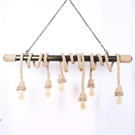 Vinteen Steampunk lámpara de Techo de cáñamo luz Industrial ...
