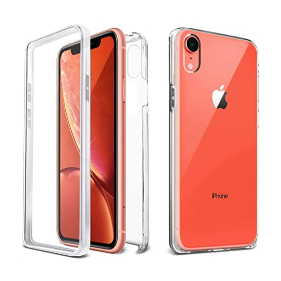 more photos 25771 c40d1 Apple iPhone XR Case [VVUP] Slim Clear Full Body Coverage Rugged Case  Protection with Transparent Built-in Screen Protector Case Cover 6.1
