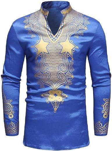 Aooword-men clothes Camisa clásica con cuello en v de dashiki, mandarina africana Para Hombres: Amazon.es: Ropa y accesorios